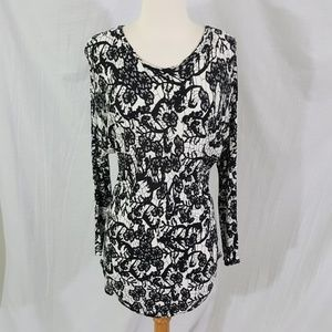 Wilfred Black White Floral Open Back LS Top M